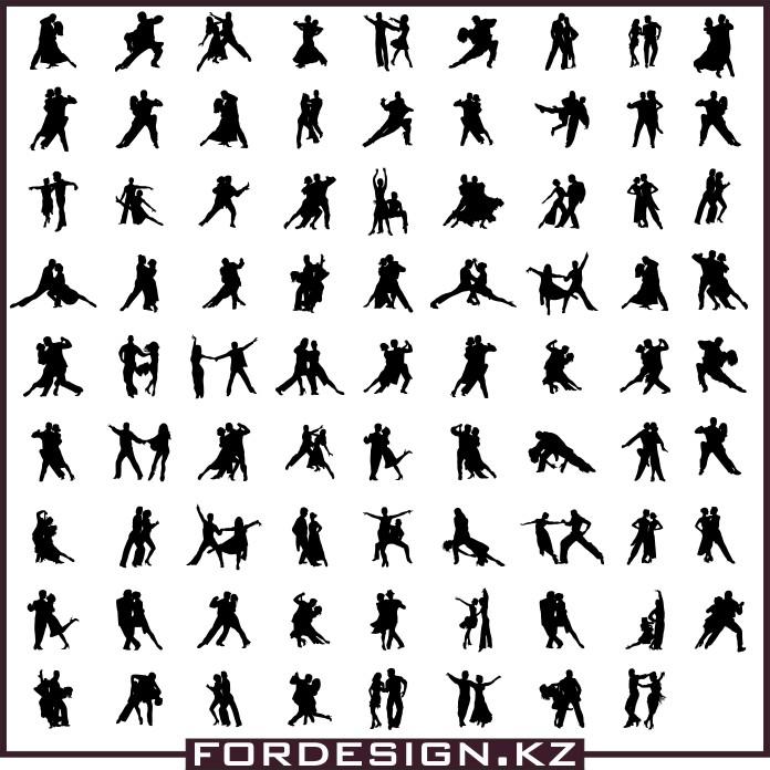Танцующие силуэты вектор, силуэт вектор, силуэты, силуэт танец