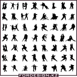 Silhouette ballroom dancers in a vector: Collection of dancing silhouettes # 2 free download!