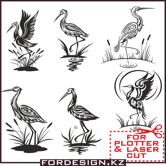 stork vector, bird vector, for plotter, vector birds, vector сторк