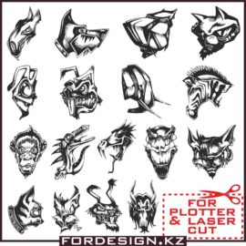 Funny muzzles animals in vector free download!