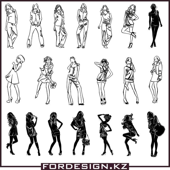 Девушки вектор скачать, женщина вектор, силуэт вектор, силуэты девушек вектор