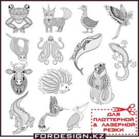 Узоры животных: Коллекция векторных животных в виде узоров