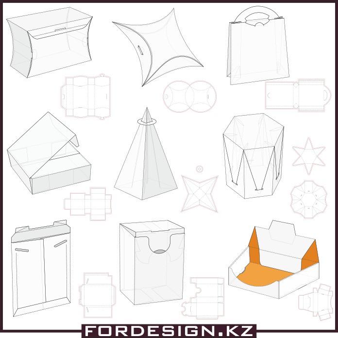 Шаблоны коробочек из бумаги, макеты коробочек, коробочки вектор, скачать коробочки