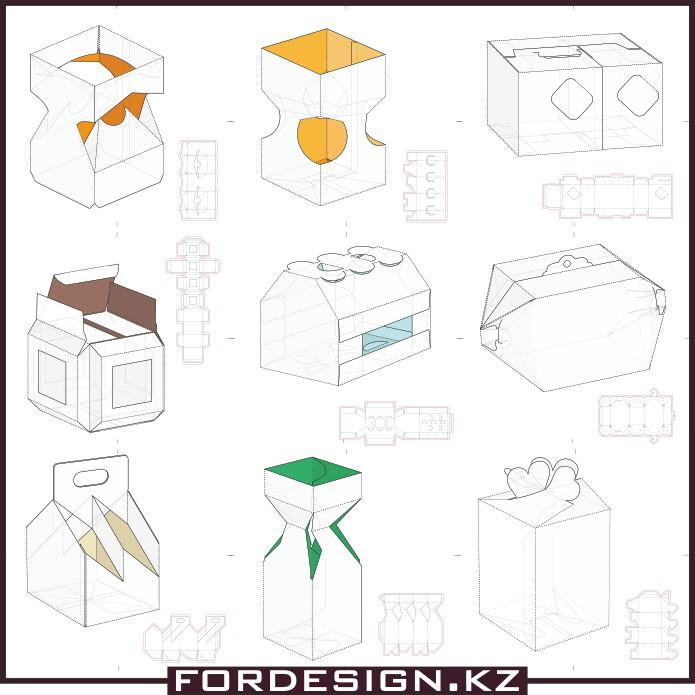 Эскиз коробочки, макеты коробочек, шаблон коробочки, коробка вектор
