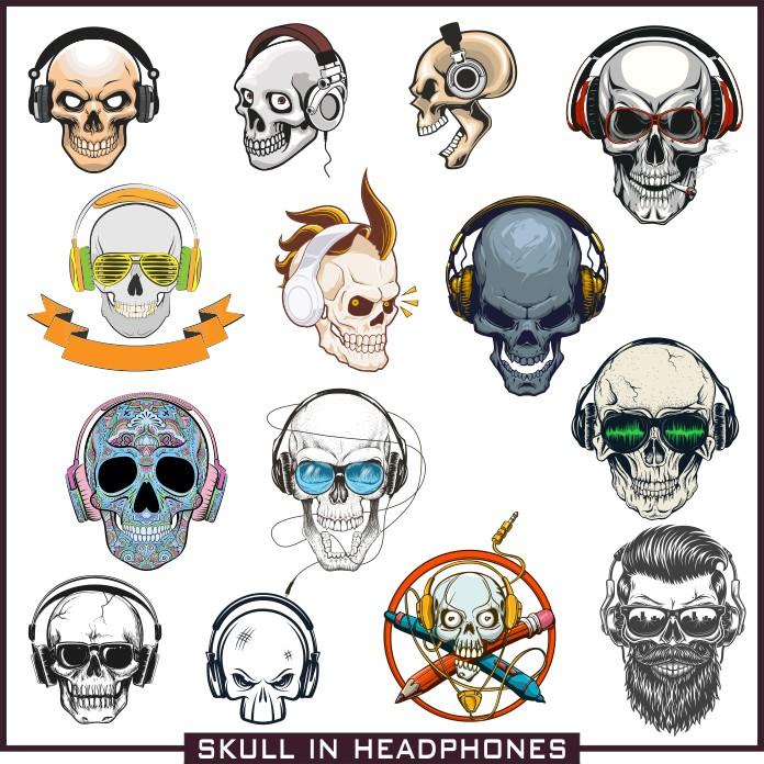Skull with headphones, vector skull, vector prints, sketches of tattoos, skull with headphones