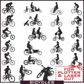 Silhouette cyclist: Collection of vector silhouettes of bicycle free download