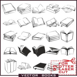 Book vector: Collection of various books in vector download