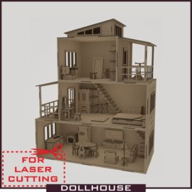 Drawing of a dollhouse with furniture vector layout download