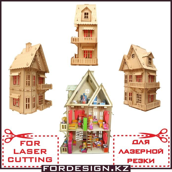 Домик для кукол, кукольный домиквыкройка, чертеж кукольного домика, домик для кукол своими руками