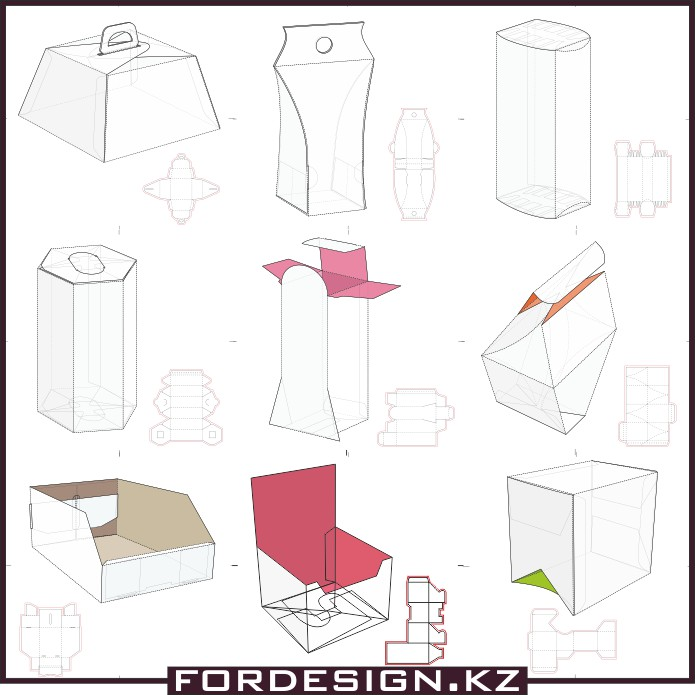 Mock-ups of boxes, sketches of boxes, models of boxes of cardboard, boxes vector