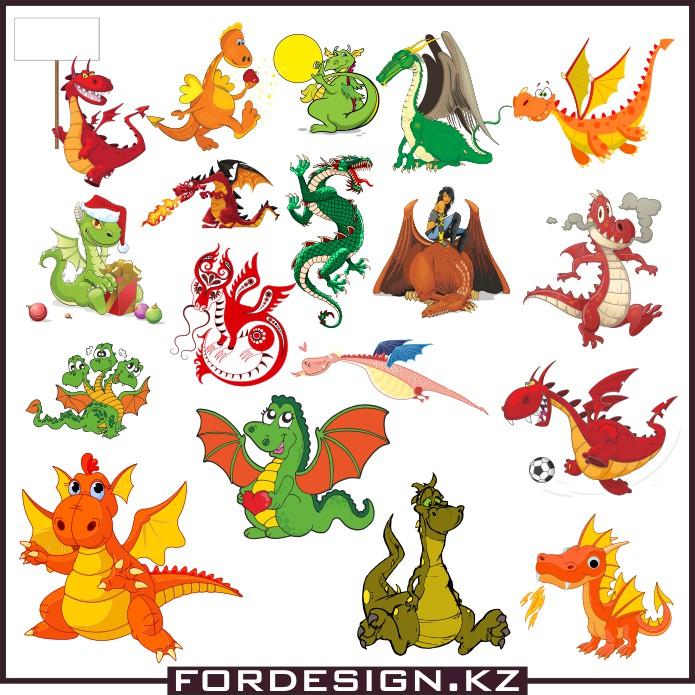 Векторные драконы, скачать бесплатно, векторные изображения, драконы в векторе