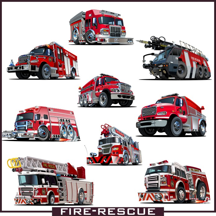 Fire truck, fire truck vector, car vector, fire vector, vector image, color vector