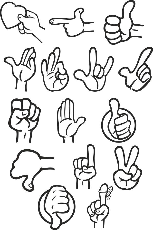Hand vector, hand vector clipart, hand gestures pictures, free download, vector images