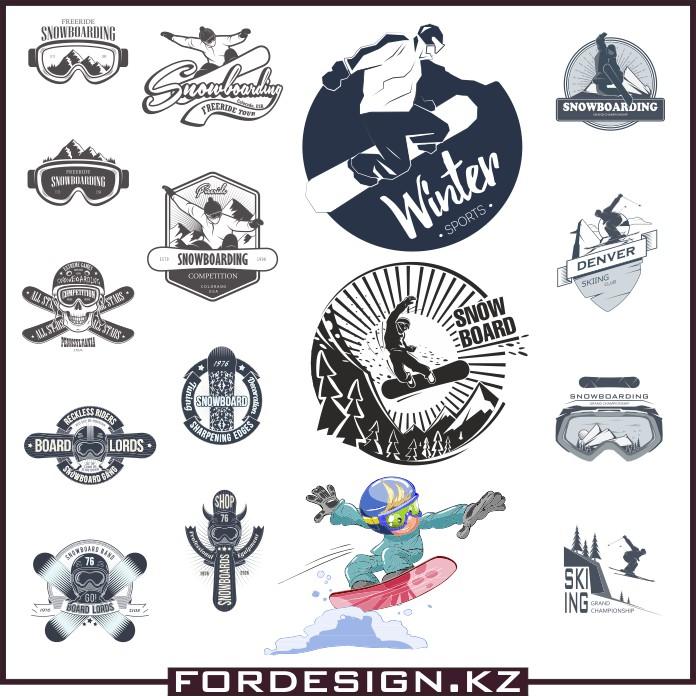 Logos of snowboards, logging logs, snowboards vector, logos vector, download vector images, snowboard rental logos, ski rental logotypes