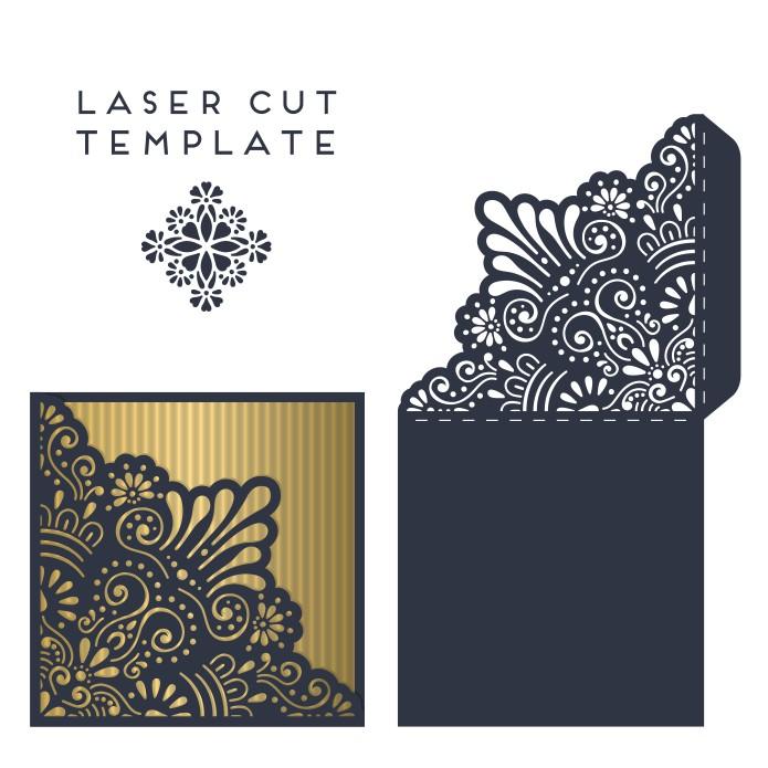 Envelope layout, envelope for laser cutting, cards for laser cutting, free download, vector images