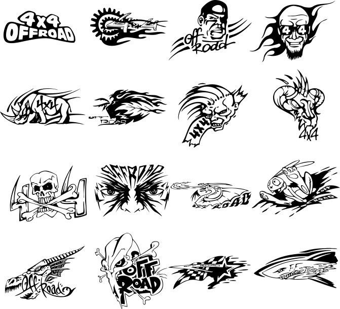 Stickers for off-road, vector stickers on a jeep, stickers 4х4
