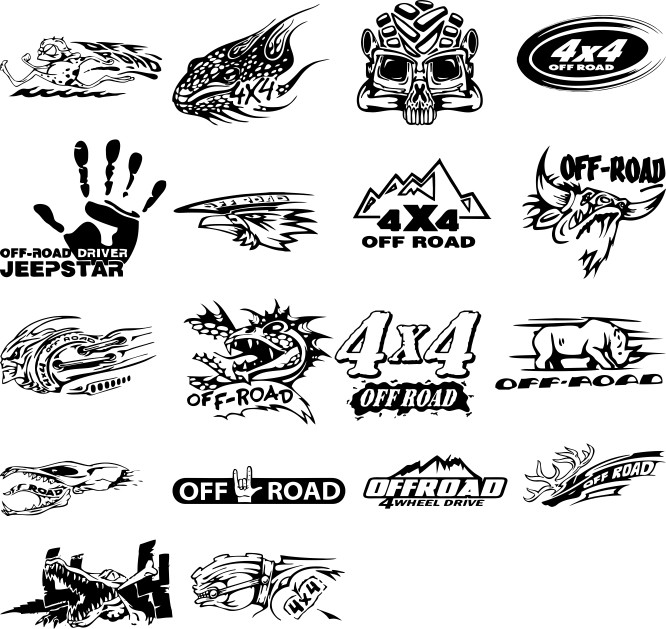 Stickers on cars in vector, 4x4 layout stickers, stickers on SUV, free download