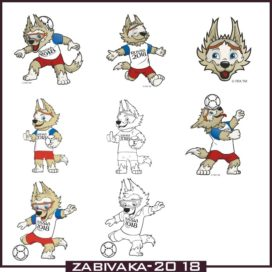 Symbol of the World Cup 2018 Wolf Zabivaka in vector free download
