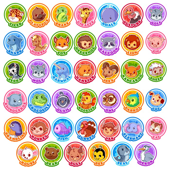 Animal pictures for kids, animals vector, image for stickers, images for magnets, free download, vector images