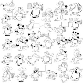 Collection of vector cartoon animals with tablets for text