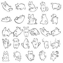 Векторные силуэты одного веселого котенка
