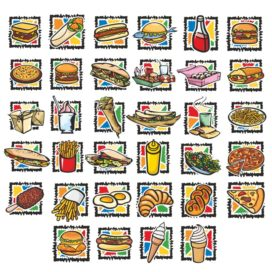 Collection of fast food icons in vector