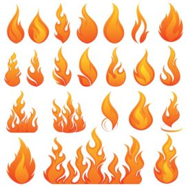 Vector images of fire and flames.