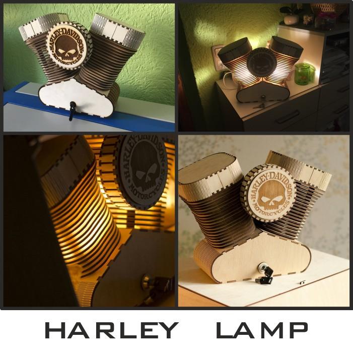 Harley lamp, Desktop lamp layout, Harley Davidson lamp, Free download, Harley layout, Vector images