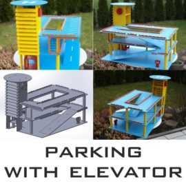 Children's parking for cars with an elevator: vector layout