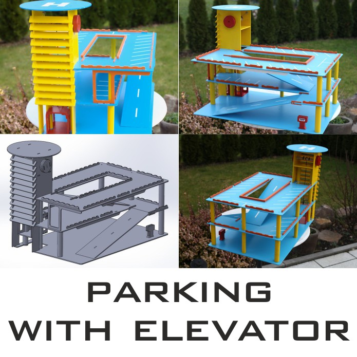 Parking from plywood for cars, childrens parking template, children's parking with elevator, free download,
