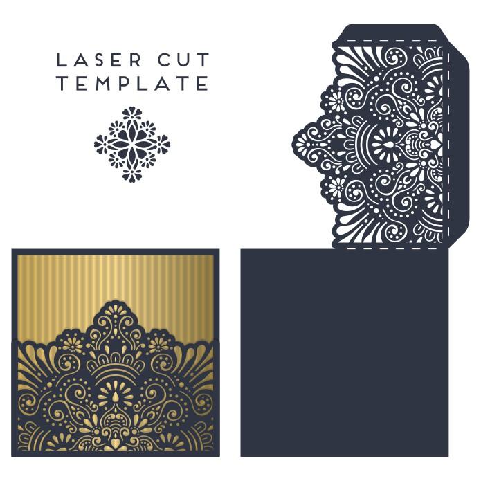 Envelope scheme for laser, Envelope circuit for laser, mock-ups for cutting postcards, for laser cutting, free download, vector images