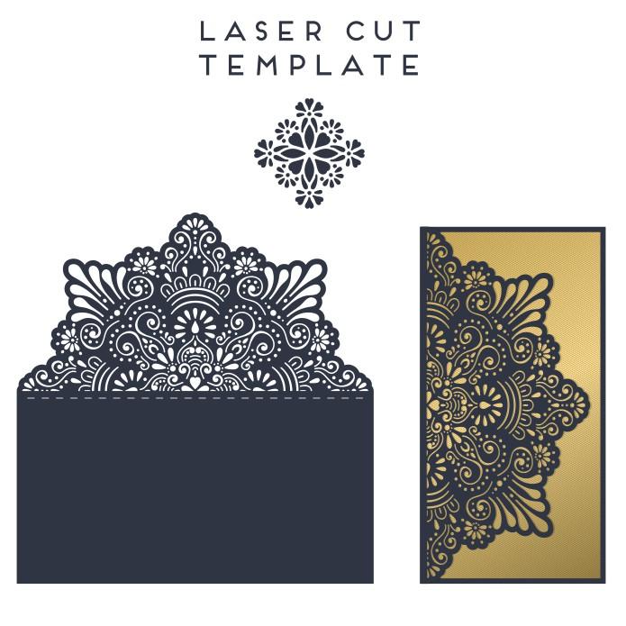 Envelope laser cutting, envelope layout, free download, vector images, laser cut envelopes
