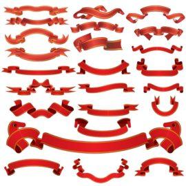 Красные ленты в векторе