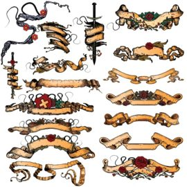 Collection of vintage vector ribbons – elements of heraldry