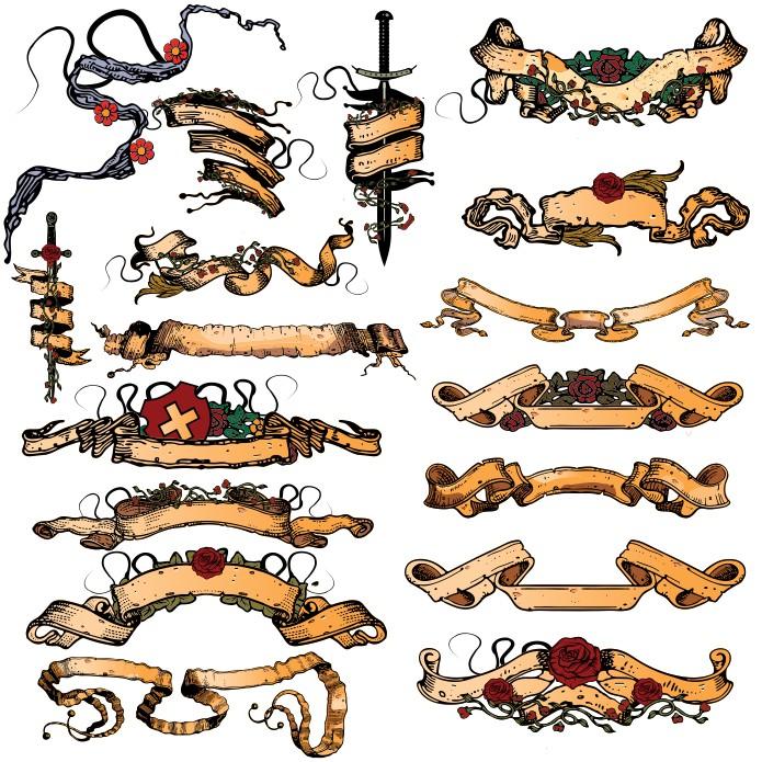 Vector ribbons, vintage ribbons, ribbon vector, download free, vector images