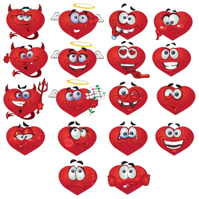 Smiley heart, smileys hearts images, vector smiles, free vector clipart images, emoids in vector