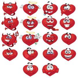 Смайлики — сердечки большая векторная коллекция
