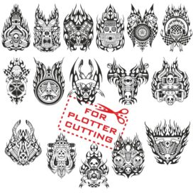 Mock-ups of motorcycle stickers collection #2