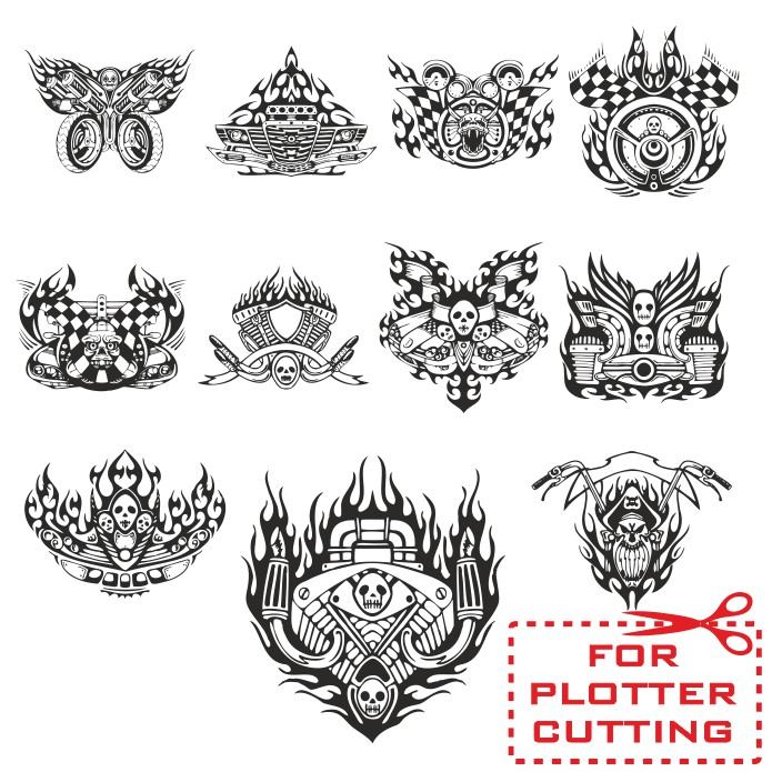 Vinyl stickers on motorcycle, patterns for plotter cutting, motorcycle stickers, patterns for plotter, free download, vector images