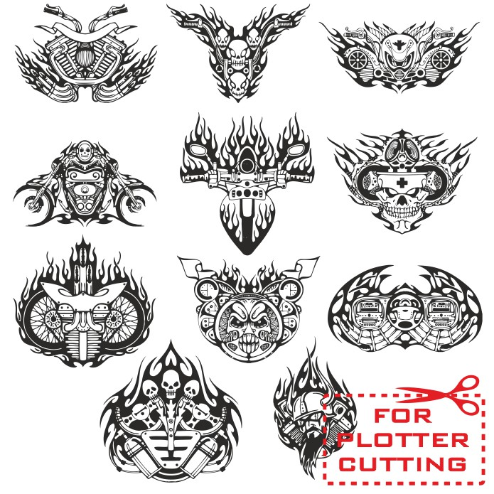 Motorcycle stickers, sticker patterns, moto stickers, free download, vector images, bike stickers templates