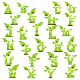 Английский алфавит в виде растений