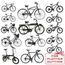 Various silhouettes of bicycles