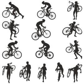Collection of vector silhouettes of bicyclists