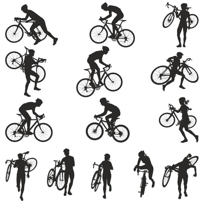 силуэты велосипедистов, велосипед вектор