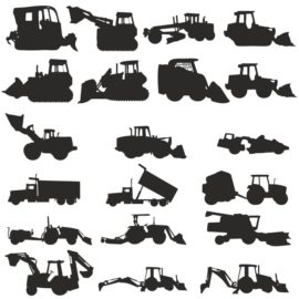 Silhouettes of construction machinery
