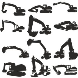 Vector Silhouettes of Excavators