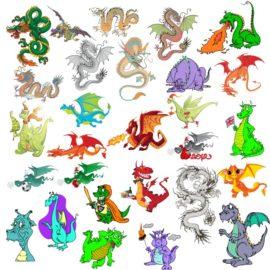 Векторные изображения драконов