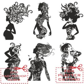 Vintage girls silhouettes with patterns