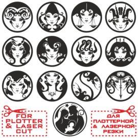 Прикольные знаки зодиака в виде женских лиц