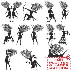 Zodiac signs in the form of silhouettes of women